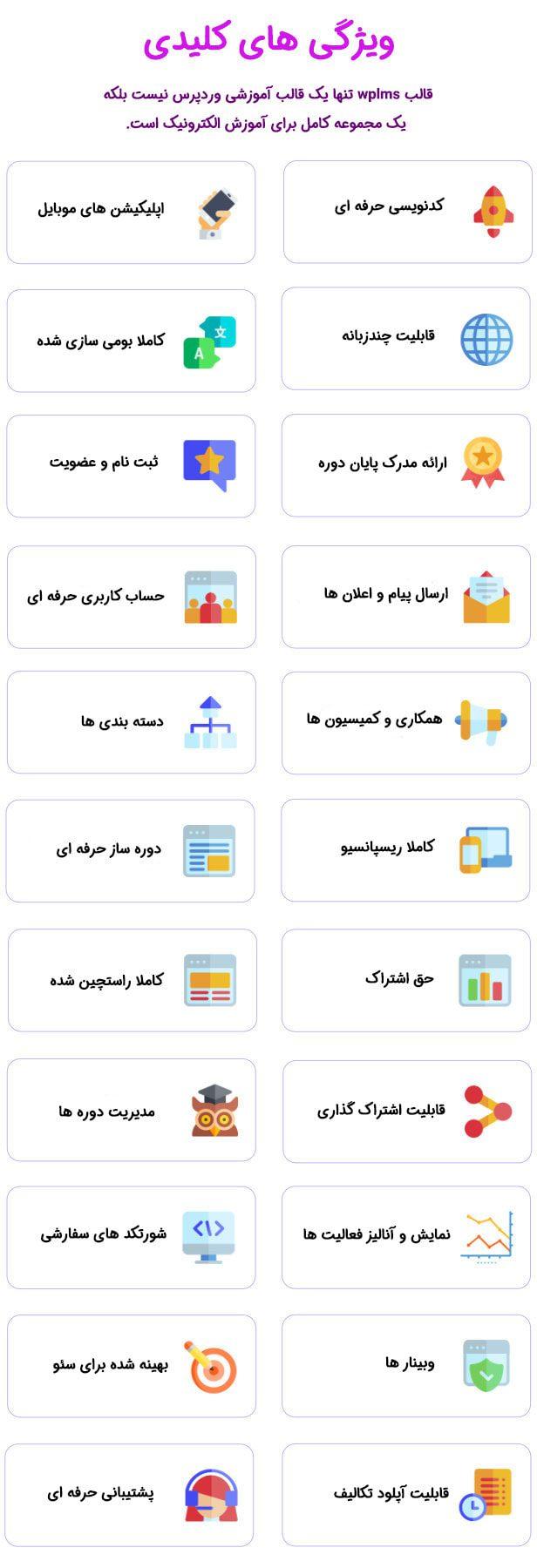 ویژگی های کلیدی/قالب آموزش آنلاین وردپرس WPLMS