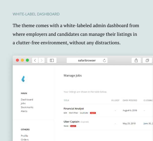 داشبورد برچسب سفید/قالب صفحه وردپرس Capstone