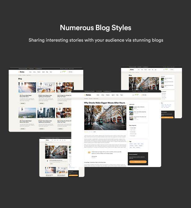 سبک های مختلف وبلاگ/قالب مشاور املاکی Rentex
